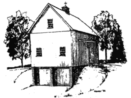 A drawing of the Stacy Barn on Jordan Green, Waterford, Connecticut