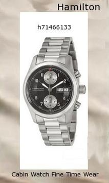 Watch Information Brand, Seller, or Collection Name Hamilton Model number H71466133 Part Number H71466133 Model Year 2011 Item Shape Round Dial window material type Anti reflective sapphire Display Type Analog Clasp fold-over-clasp-with-double-push-button Case material Stainless steel Case diameter 38 millimeters Case Thickness 11 millimeters Band Material Stainless steel Band length Men's Standard Band width 20 millimeters Band Color Silver Dial color Black Bezel material Stainless steel Bezel function Stationary Movement Swiss automatic Water resistant depth 330 Feet,hamilton watch