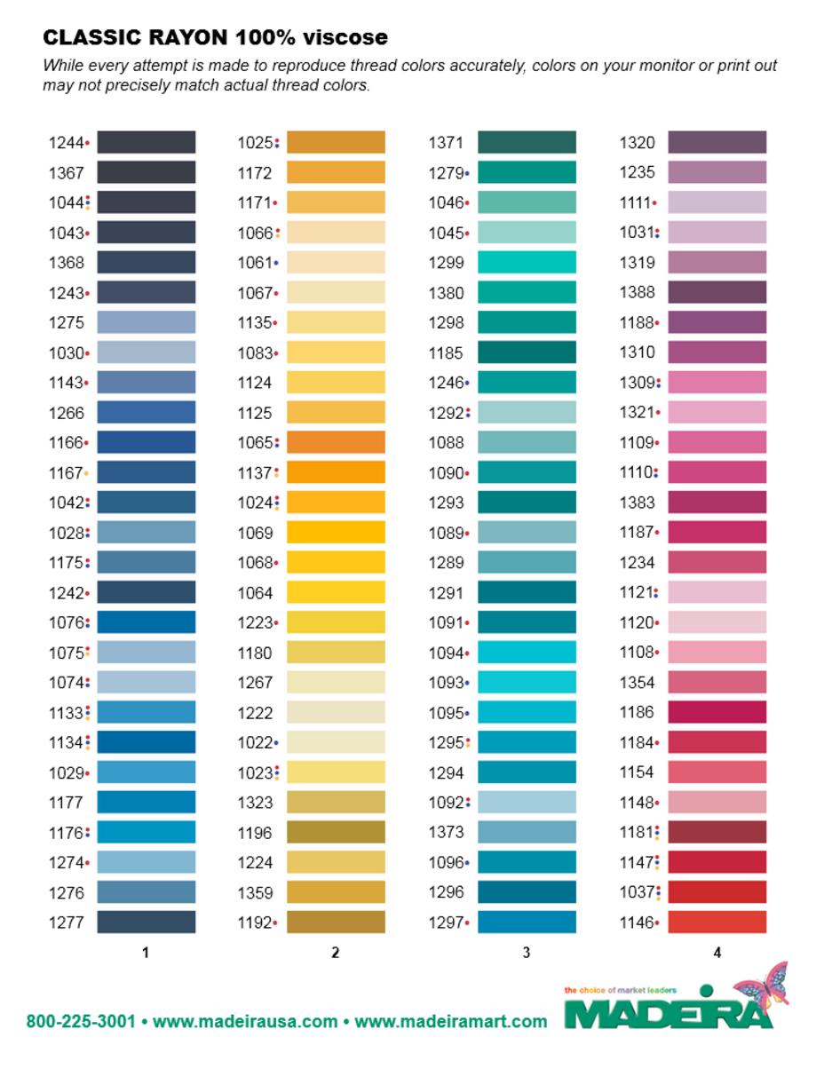 madeira thread - Madeira Color Chart