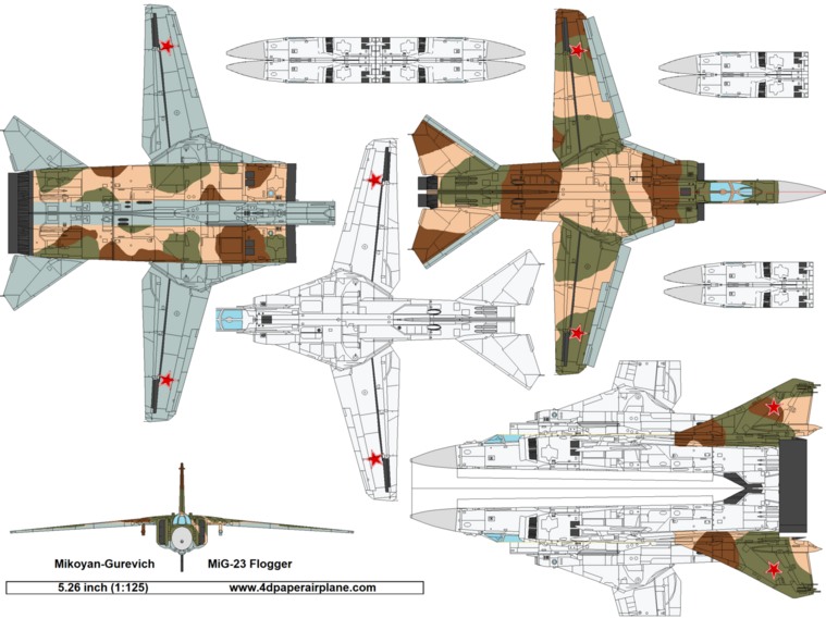 4D model template of Mikoyan-Gurevich MiG-23 Flogger