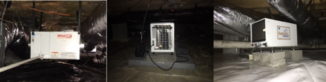 Dehumidifier in crawl space EcoMaster