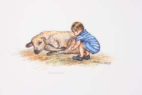 Touchable, colored pencil toddler with sheep drawing by Lindy C Severns