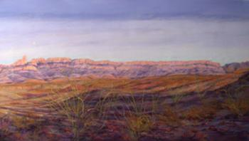 Moonrise, Big Bend a panoramic landscape by Texas artist Lindy Cook Severns