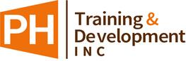 PH Training & Development Inc. logo. Design has an orange open door with PH white lettering and