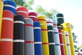 Bollard Covers come in bright, attractive colors.