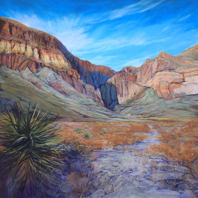 Shadow Canyon, 4ft sq pastel by Texas artist Lindy Cook Severns