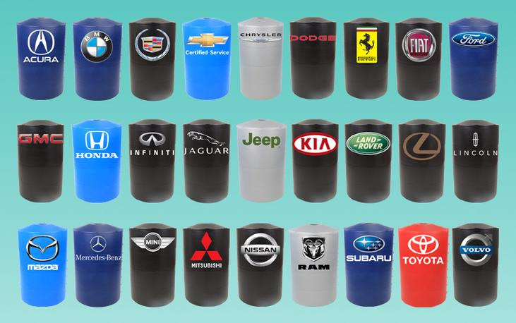 Automotive logos are available for any light pole base cover