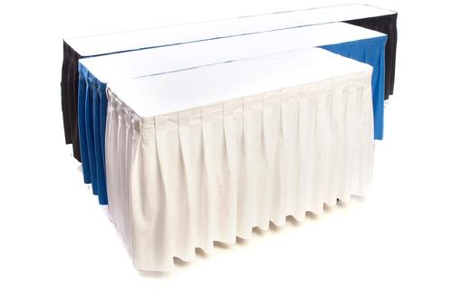 skirted table rentals 4' 6' 8' hahn rentals