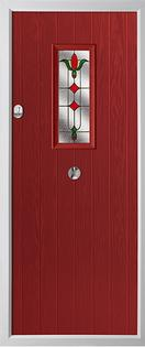 Cottage rectangle composite door in red