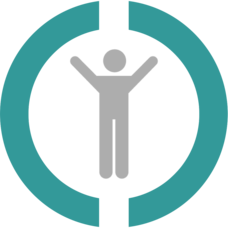 Logo of a grey man with arms spread out with cyan blue circle around him