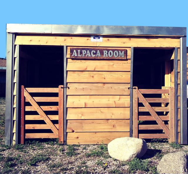 Alpaca Shed wood and Metal with custom made wood door