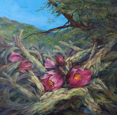 Cholla blossoms, A Tangled Bouquet of Cactus original oil by Lindy C Severns