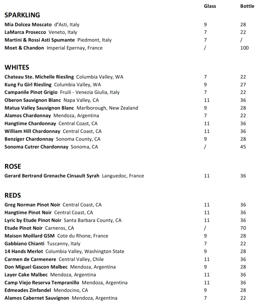 Fall 2017 Wine List