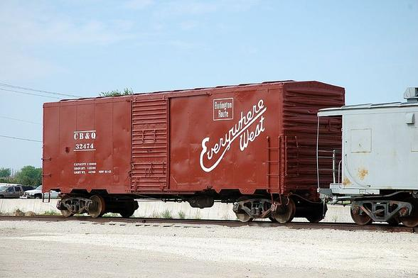 A spanking clean CB&Q boxcar in the 1940's - 1950's paint scheme. At the railroad museum in Galesburg, Illinois.