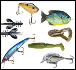Bridgemaster Fishing Products aka Fisherman's Candy Store crank baits, stick baits, plastic worms, creature baits