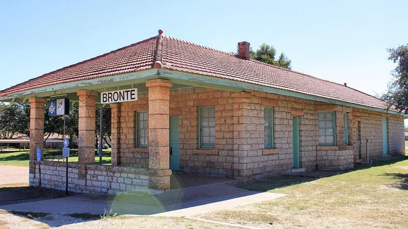 The former train station in Bronte, Texas.