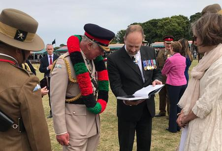 Craig Lawrence with Prince Charles at the Regimental Launch of the new Gurkha book on 9 July 2019