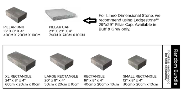Unilock Lineo Dimenstional Stone Wall Sizes and Dimensions