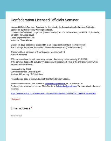 Application for Licensed Officials Seminar