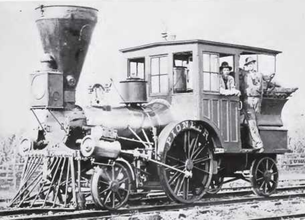 "The 2-2-2 locomotive ""Pioneer"" in service on the Cumberland Valley Railroad, circa 1880s-1890s."