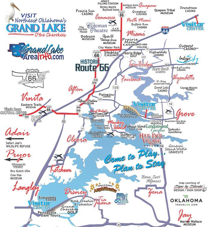 Grand Lake OK Map Attractions Northeast OK