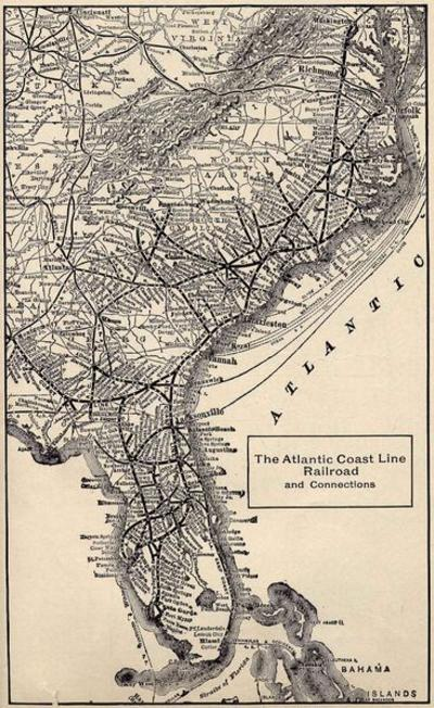 Atlantic Coast Line Railroad System Map, circa 1914.