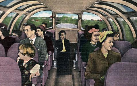 "Interior of the ""Vista-Dome"" dome parlor-observation car."