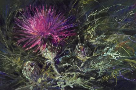 A THISTLE IN TIME original pastel miniature by Lindy C Severns
