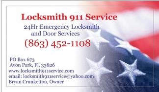 Locksmith 911 Service Business Card