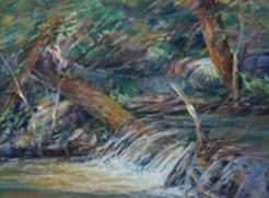 Water Lace, a mountain stream plein air pastel by Lindy C Severns