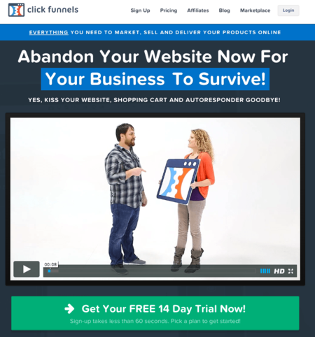 clickfunnels abandon your website