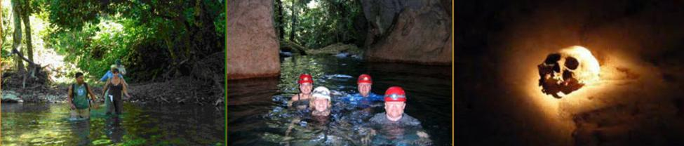 A trio of photos show casing the ATM Cave - one of Belize's most popular adventure tours.