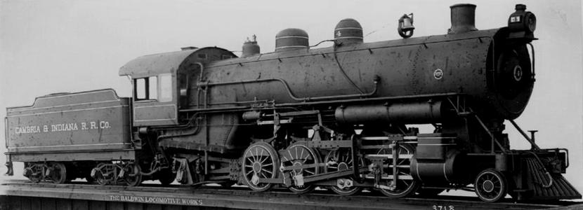 Cambria and Indiana Railroad Baldwin 2-8-2 locomotive No. 4, circa 1911.