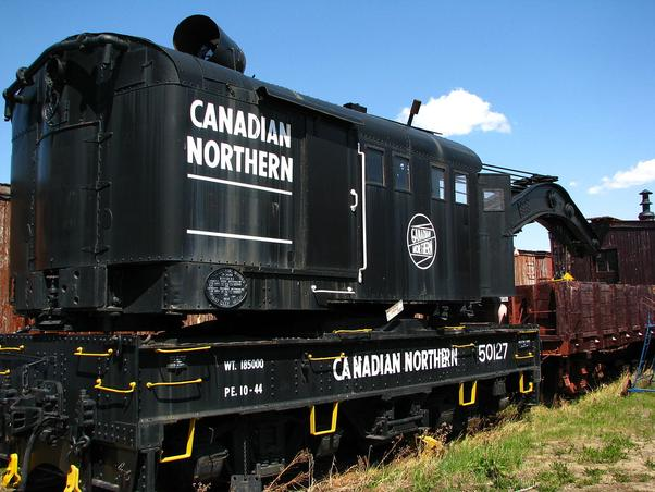 This Canadian Northern wrecking crane is on display at the Alberta Railway Museum.