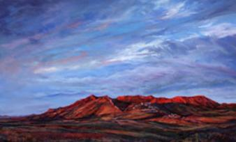 Riding the Red Dawn, pastel landscape painting by Lindy Cook Severns