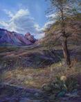 Window Onto Texas, pastel landscape painting by Big Bend Artist Lindy Cook Severns, Old Spanish Trail Studio, Fort Davis TX. Chisos Mountains, BBNP