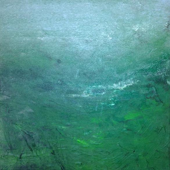 Abstract Green 01. 50x50cm. Acrylic paint on wall canvas. Original contemporary green abstract painting by Irish artist Orfhlaith Egan.