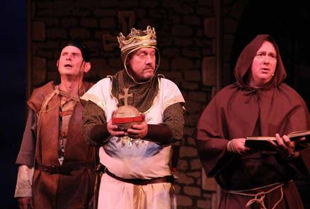 Patsy (Huw Brettell), King Arthus (Mark Cooper) and Brother Maynard (Gordon Collins)