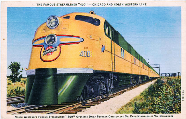 "Postcard depiction of the Chicago and North Western's ""400"" streamlined passenger train."