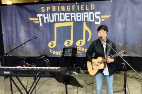 Kyle Langlois performs at the Springfield Thunderbirds Game, Springfield, MA