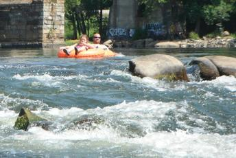 whitewater tubing on the James River, class I-II whitewater in Richmond, VA (RVA), Virginia