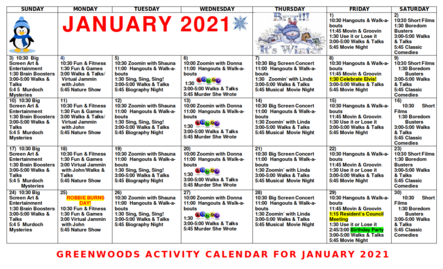 Greenwoods Activity Calendar for January 2021