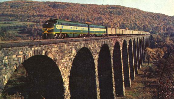 The Erie Limited enroute from New York to Chicago crosses the century old Starrucca Viaduct near Susquehanna, Pennsylvania.