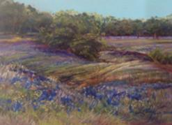 Texas Carpeted in Springtime, a miniature pastel landscape painting of bluebonnets by Lindy C Severns