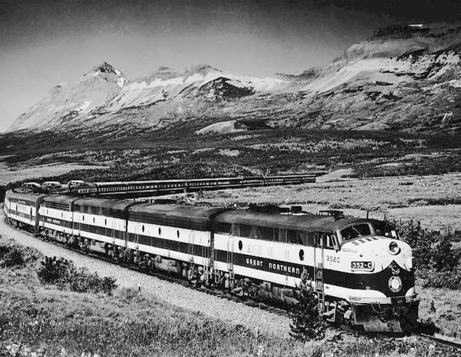 The Great Northern Railway's Empire Builder in Montana.