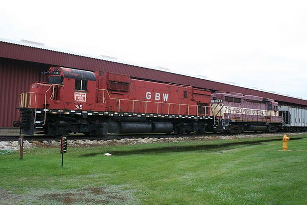 Green Bay and Western Railroad Alco C430 No. 315 and Soo Line Railroad EMD GP30 No. 715 (later Wisconsin Central Ltd No. 715) at the National Railroad Museum, Green Bay, Wisconsin.