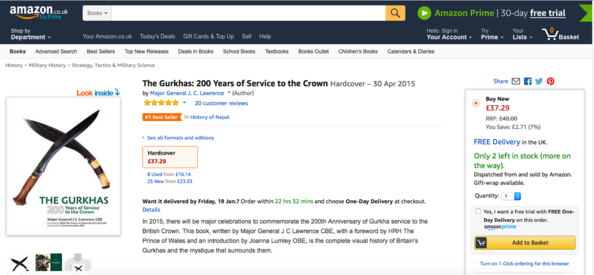Amazon Nepal and Gurkhas best-seller