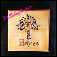 """Believe"" wall hanging"
