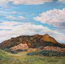 Sky Lights the Old Spanish Trail original oil of Point of Rocks by Texas painter Lindy C Severns, Fort Davis