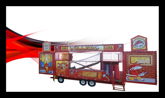 Fire Department fun house for sale on red background
